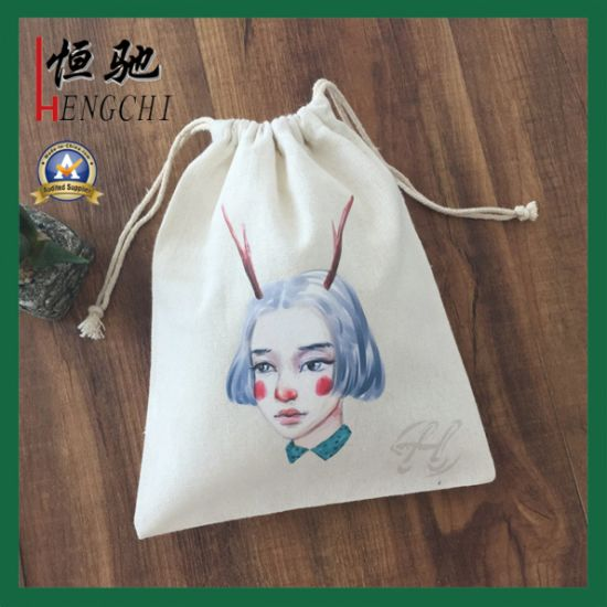 Recycled Durable 100% Cotton Drawstring Pouch Bags for Gift Packaging pictures & photos