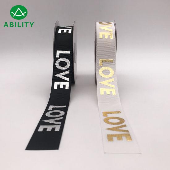 Hot Selling Gold Foil Printed Fashion Love Garments Grosgrain Ribbon
