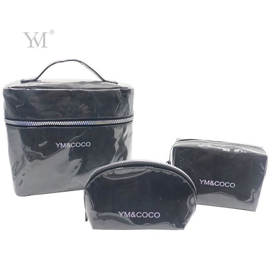Fashionable Double Layers PVC Paper Toiletry Cosmetic Bag Set
