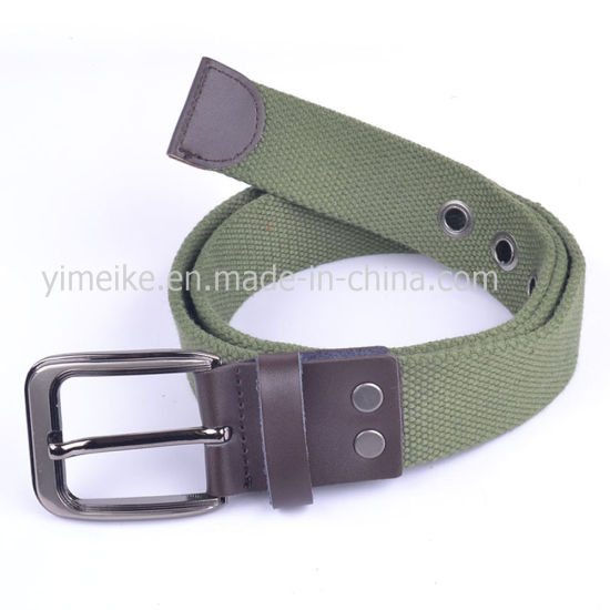 New Design Polyester Casual Man Laser Alloy Buckle Cotton Belt