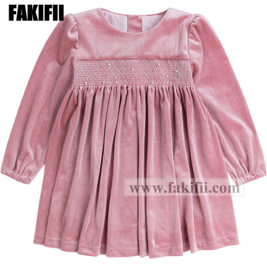 3872332d41dd6 [Hot Item] Winter/Autumn Wholesale Kid Clothing Children´ S Apparel Girl  Pink Smocked Fashion Dress