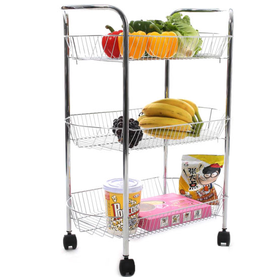Charmant Household Essentials Metal Wire 3 Tier Storage Cart (JP SC985C)