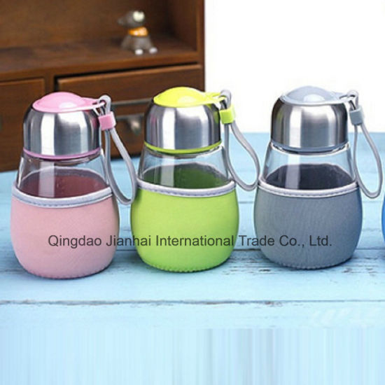 Candy Color Penguin Glass Water Cup with Custom Sleeve pictures & photos