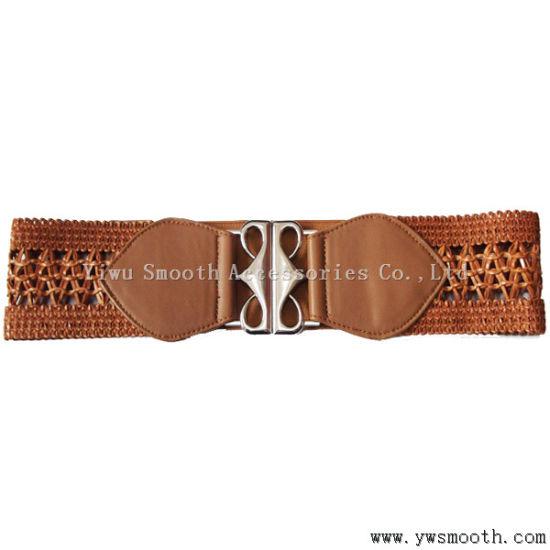 Women's Fashion Decorative Skirt Elastic Slim Waist PU Leather Belt