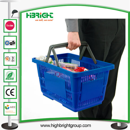 Single Handle Plastic Shopping Baskets pictures & photos