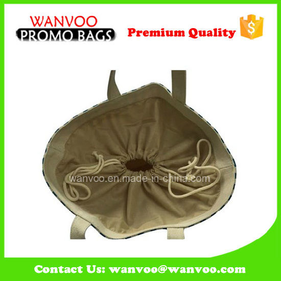 2016 Canvas Drawstring Bag for Promotional with Cotton Lining pictures & photos
