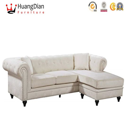 Chinese Custom Furniture Supplier Classic Eyropean Velvet Lobby Living Room Storage Corner Sofa pictures & photos