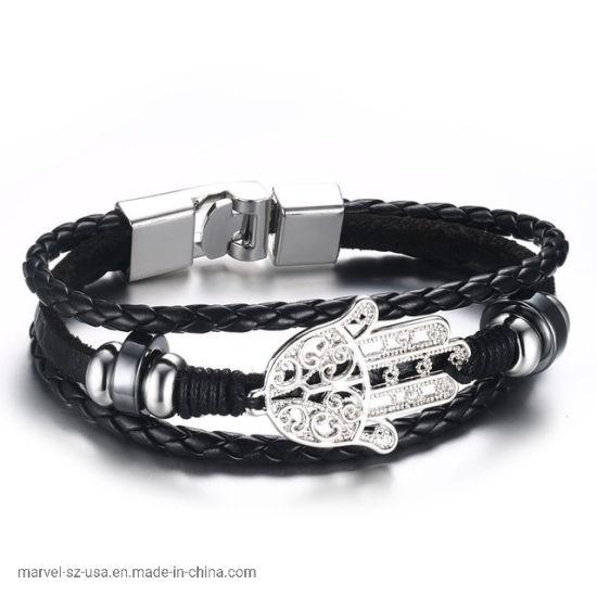 Black Leather Rope Hamsa Hand Fashion Bracelet Jewelry Promotion Gift