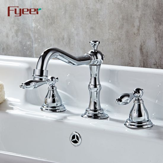 Fyeer Traditional Deck Mounted 3 Holes Bathroom Basin Faucet