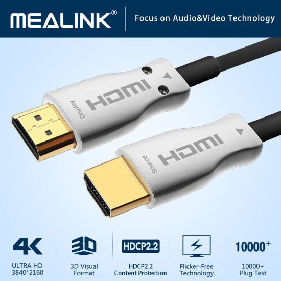 4K Fiber Active Optical HDMI Cable with Built-in IC up to 200m HDMI Cable 2.0 (Support 18Gbps, HDR, 4K@60Hz 4: 4: 4)
