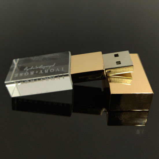 Hot Sell Customized Laser Engraved 3D Logo Crystal USB Flash Drive Glass USB Stick with Packaging Box pictures & photos