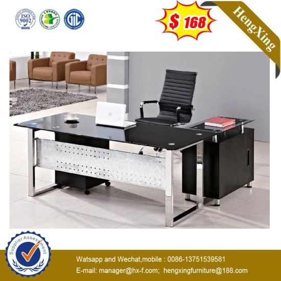 L Shape Lab Hotel Staff Manager Executive Tempered Gl Office Table Hx Gl020 Pictures