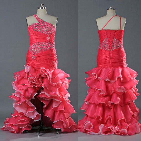 Vintage Bead Ruffle Organza One Shoulder Plus Size Prom Dresses for Women  E115