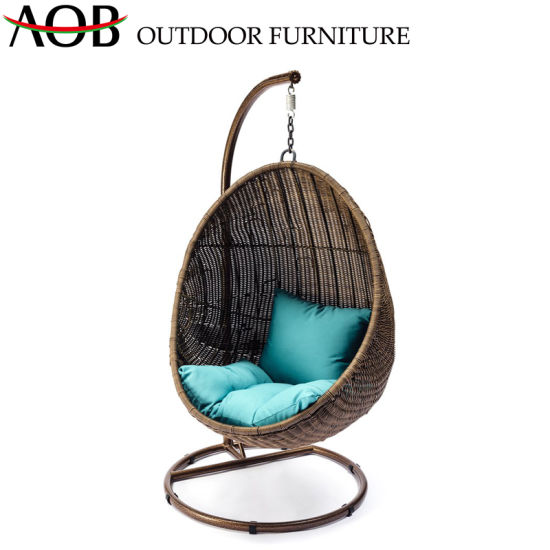 China Hospitality Outdoor Garden Home Furniture Rattan Wicker Tear Drop Hanging Chair Aluminum Swing Chair China Garden Sets Home Furniture Set