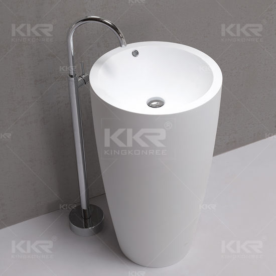 Corian Solid Surface Round Pedestal Bathroom Washing Basin