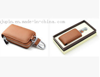 OEM Leather Promotional Car Key Cover with Hook pictures & photos