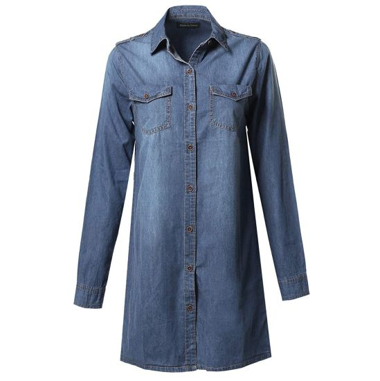 Women Button Down Short Denim Jeans Long Top Shirt Dress pictures & photos