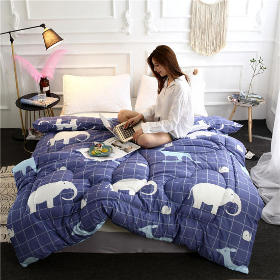 Wholesale Made in China Microfiber Home Textile Printing Quilted Bed in Bag Comforter Set