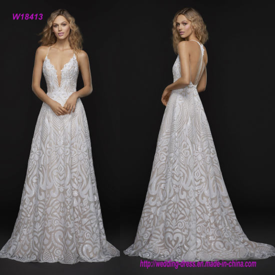 900f138546b Scalloped Deep Sweetheart Neckline Wedding Dress with All-Over Beaded T- Strap Back