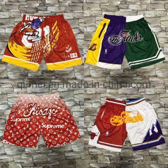 2020 Newest Hardwood Classics S-Upreme LV Joint The Finals Rockets Basketball Shorts