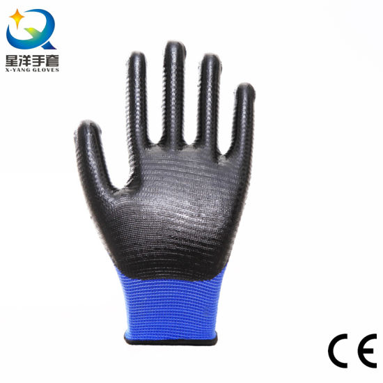 Cheaper 13G Zebra Liner with Nitrile Coated Safety Work Glove