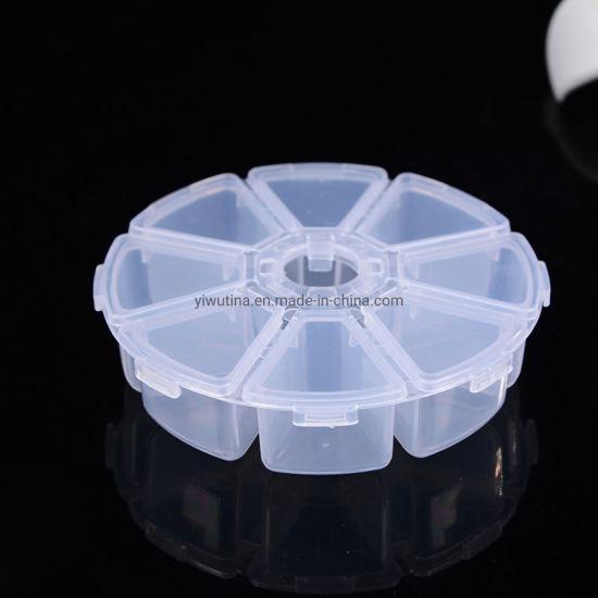 Wholesales Large 8-Grid Organizer Bin Case Clear Plastic Jewelry Craft Tool Storage Box Round Plastic Box