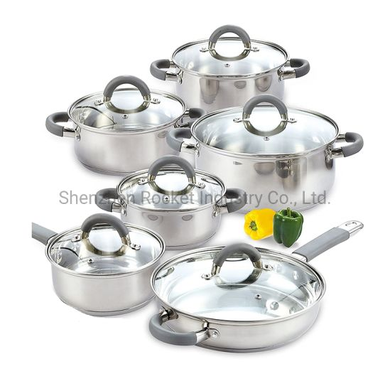 12PCS Gas Cooker Stainless Steel Body Cookware Set for Kitchen Cooking