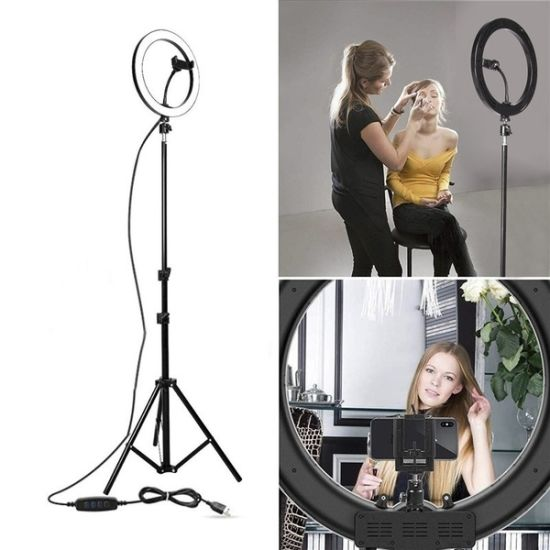10 12 14 18 20 Inch Tiktok Live Photography Dimmable Makeup Fill Circle LED Ring Light with Tripod Stand