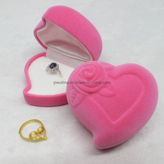 High Quality Pink Heart Shape Velvet Earring Ring Jewelry Box in Stock