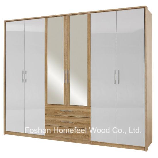 Bedroom Mirrored Combination 6 Door Wardrobe with Side Panels