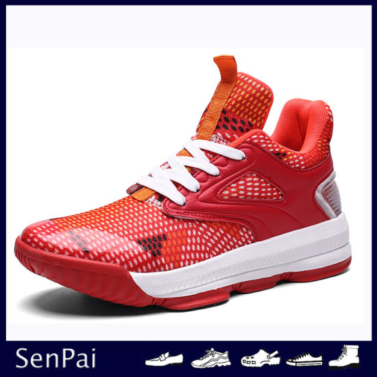 2019 High Quality Red PU Men Basketball Shoes School Sneakers