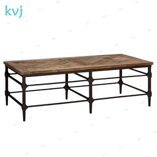 Kvj 7352 Industrial Reclaimed Wood Rectangle Rustic Coffee Table