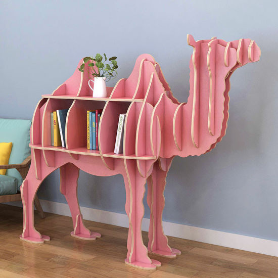Camel Wooden Bookcase with Open Cubes and Shelves, Free Standing Animal Bookshelf Storage Unit and Display Cabinet, Storage Cabinet, Display Rack, Living Room