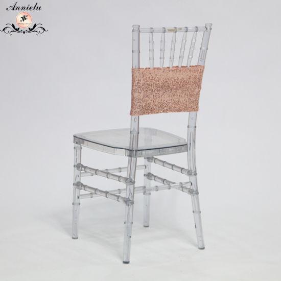 Fashion Design Cheap Sequin Wedding Chair Band Sashes