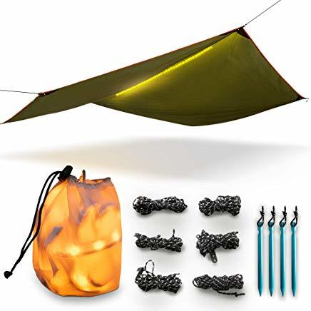 New Multi Function Durable LED Rain Fly Tarp Hammock Cover Shelter