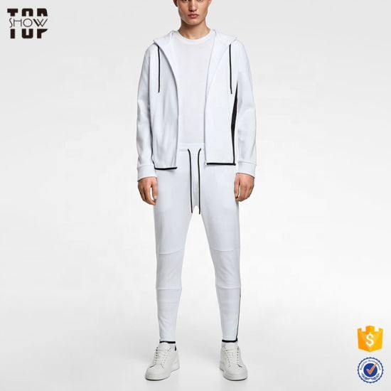 Fashion Men's Apparel Custom Gym Slim Fit White Tracksuit with Contrast Stripe