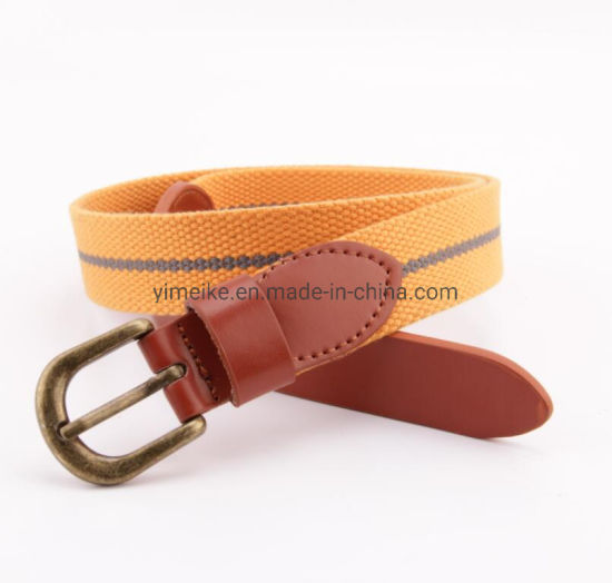Fashion Stripes Casual Canvas Leather Children Fabric Belt
