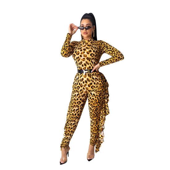 L55863 Casual Leopard Print Ruffled Jumpsuits