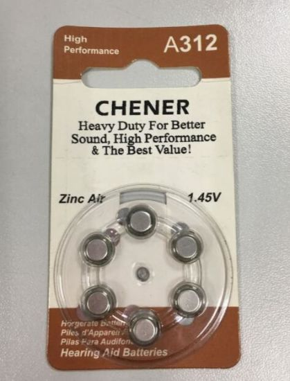 Zinc Air A312 1.45V Coin Cell Primary Dry Battery for Hearing Aid
