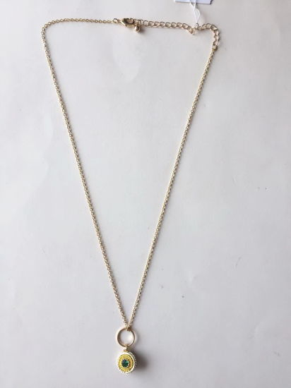 Fashion Necklace Gold with Metal Colorful Eye for Pendant 23~27+3cm