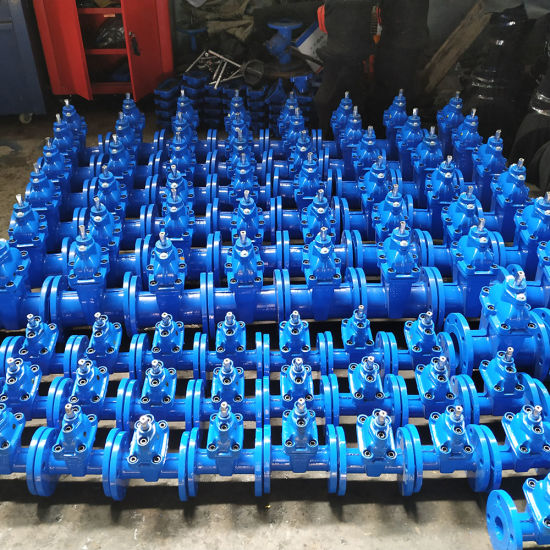 Ce ISO Cheap Price Handle Wheel Type Metal Ggg50 Ductile Iron Resilient Seated Double Flanged Nonrisng Stem Gear Box Gate Valve