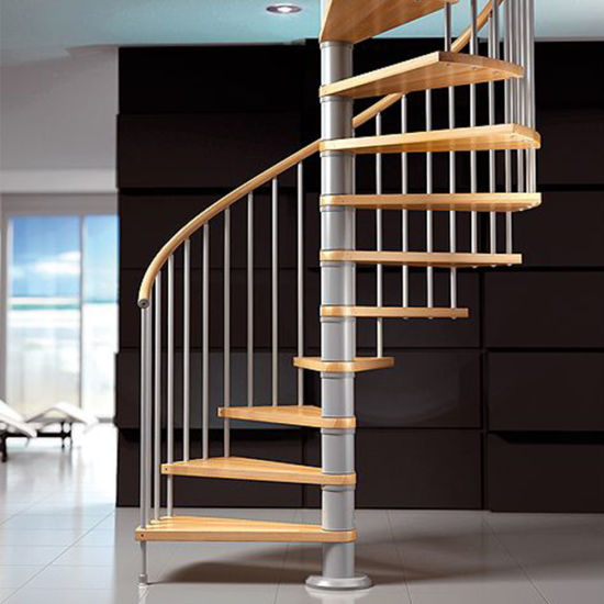 Modern Spiral Staircase In Stainless Steel And Wood/Wood Spiral Staircase  And Stainless Steel Balustrade