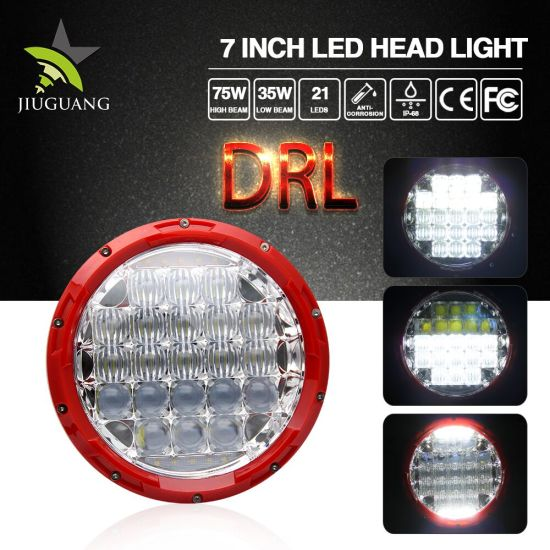 Offroad Auto Parts IP67 Waterproof 75W 35W 5D 7inch 24V 12V Auto LED Headlight for Jeep
