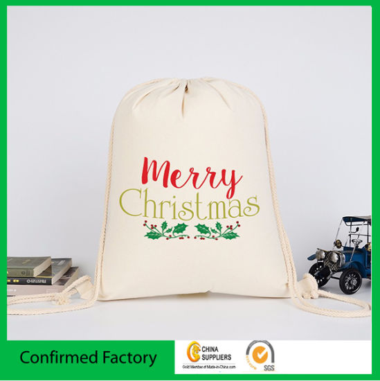 Muslin Cotton Packaging Bag with Double Drawstring Logo Printing Cotton Pouch pictures & photos