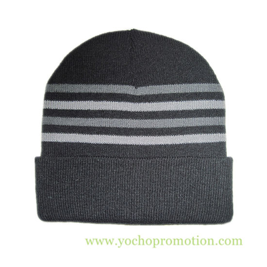 China 100% Acrylic Strip Cuff Beanie Winter Hat Knitted Cap Knitted ... cb42d40b0672