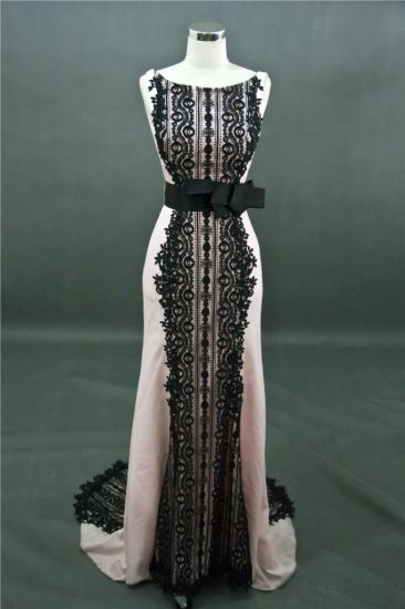 Black Lace Satin Sheath Evening Dress