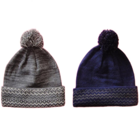 199983cd414b Winter Warm Fashion Knitting Solid Bobble Hat Cap with Jacquard on Cuff