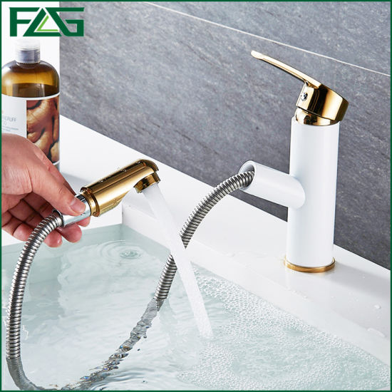Flg White Painted Single Handle Pull out Bathroom Faucet