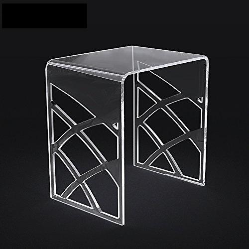 Elegant White Acrylic Shower Stool, Vanity Bathroom Stools, Waterfall Lucite Side U Table