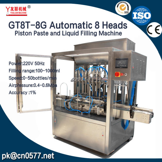 Automatic 8 Heads Paste Daily Chemicals Water Beverage Liquid Cream Sealing Labeling Packing Filling Machine